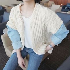 Emeline - Denim Sleeve Cable-Knit Chunky Cardigan