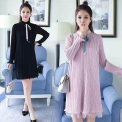 Sienne - Long-Sleeve Pleated A-line Dress