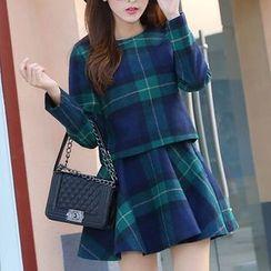 Ekim - Set: Plaid Long-Sleeve Top + Plaid A-Line Skirt