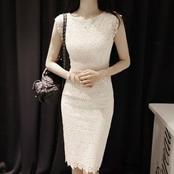 Jolly Club - Plain Lace Sheath Dress
