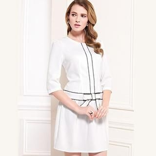 Moonbasa - 3/4-Sleeve Bow-Accent Stitched Dress