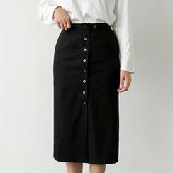 UPTOWNHOLIC - Band-Waist Button-Detail Long Skirt