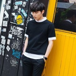 MEING - Short-Sleeve Contrast-Trim T-Shirt