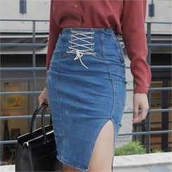 LIPHOP - Lace-Up Detail Slit-Side Denim Skirt
