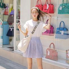 Cherryville - Pleated Check Mini Skirt