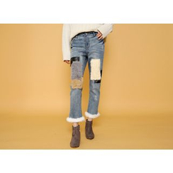 Envy Look - Faux-Fur Patch Straight-Cut Jeans