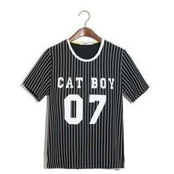 Free Shop - Short-Sleeve Striped Printed T-Shirt