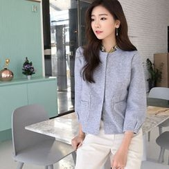 Hello sweety - Round-Neck Snap-Button Cardigan