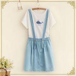 Fairyland - Ripped Hem Denim Suspender Skirt