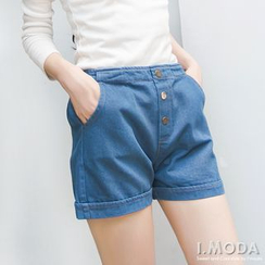 OrangeBear - Metal Buttons High Waist Denim Shorts