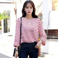 DEEPNY - Round-Neck Long-Sleeve Striped T-Shirt