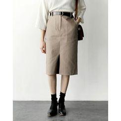UPTOWNHOLIC - Band-Waist Slit-Front Skirt