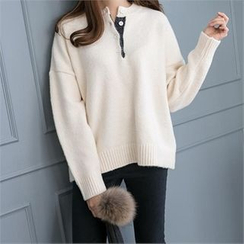 PEPER - Buttoned-Neck Knit Top