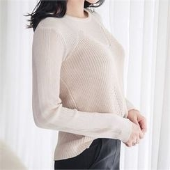 ERANZI - Round-Neck Sheer Knit Top