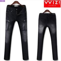 WIZIKOREA - Cargo-Pocket Washed Jeans
