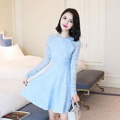 Emeline - Long-Sleeve A-Line Lace Dress
