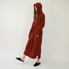 Vintage Vender - Hooded Slit-Side Long Pullover Dress