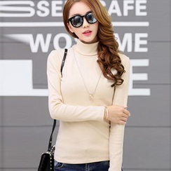 Silky Kiss - Turtleneck Long-Sleeve Top