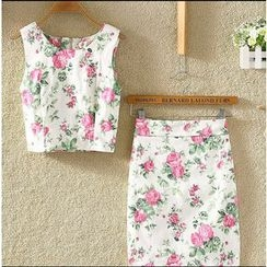 Clementine - Set: Floral Cropped Sleeveless Top + Pencil Skirt