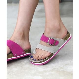 DANI LOVE - Color-Block Toe-Ring Slippers