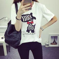 Katie Bloom - Zebra Print Short-Sleeve T-Shirt