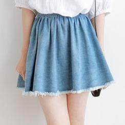 Forest Girl - Fray Denim Skirt