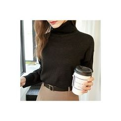 CHERRYKOKO - Turtle-Neck Long-Sleeve Knit Top