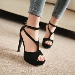YOUIN - Genuine-Leather Platform High-Heel Sandals