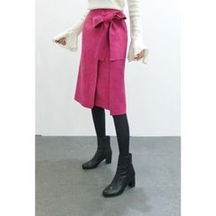 ATTYSTORY - Tie-Waist Faux-Suede Wrap Skirt