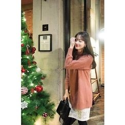 CHERRYKOKO - Slit-Front Wool Blend Furry-Knit Top