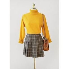 J-ANN - Check Pleated Skirt