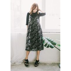 GOROKE - Spaghetti-Strap Floral Pattern Long Dress