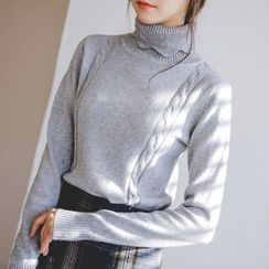 JUSTONE - Turtle-Neck Cable-Knit Top