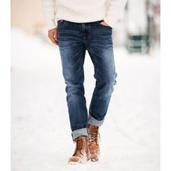 ABOKI - Washed Straight-Cut Jeans