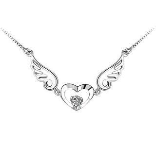 BELEC - 925 Sterling Silver Angel Wings Pendant with Silver Crystals and Necklace