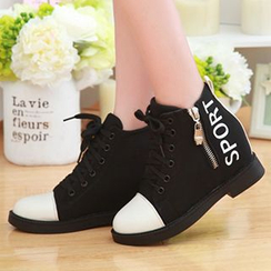Sidewalk - Hidden Wedge Letter Zip High-top Sneakers