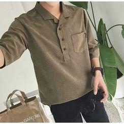 Bestrooy - Plain Elbow-Sleeve Polo Shirt