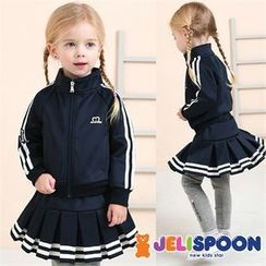 JELISPOON - Girls Set: Jacket + Inset Pleated Mini Skirt Leggings