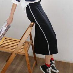 Porta - Stripe Midi Skirt