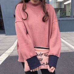 Dute - Contrast Cuff Mock Neck Sweatshirt