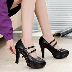 Hannah - Genuine Leather Double Strap Pumps