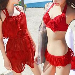 Little Dolphin - Set: Bikini + Eyelet Beach Cover-Up