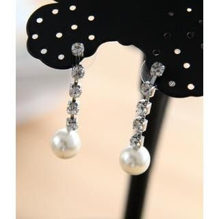 Petit et Belle - Faux Pearl Rhinestone Earrings