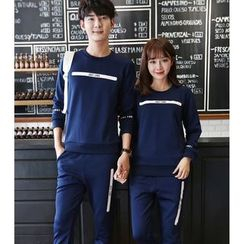 Bay Go Mall - Set: Print Couple Matching Pullover + Sweatpants