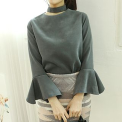 Dodostyle - Inset Choker Bell-Sleeve Zip-Back Blouse