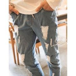 STYLEMAN - Band-Waist Distressed Jeans