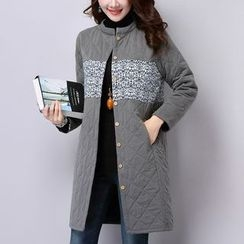 Diosa - Printed Panel Long Padded Jacket