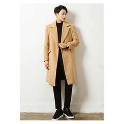 HOTBOOM - Wide-Lapel Wool Blend Long Coat