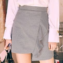 chuu - Asymmetric-Hem Frilled Gingham Mini Skirt