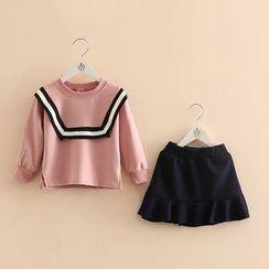 Seashells Kids - Kids Set: Contrast Trim Pullover + A-Line Skirt